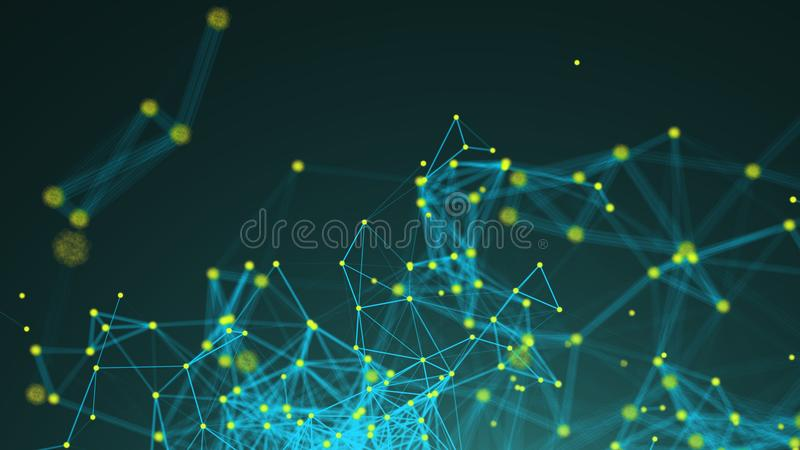 Pontos abstratos da conexão Fundo da tecnologia Ilustração de Digitas Conceito da rede ilustração royalty free