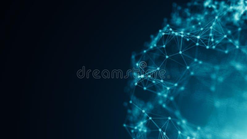 Pontos abstratos da conexão Fundo da tecnologia Tema do azul do desenho de Digitas Conceito da rede ilustração royalty free