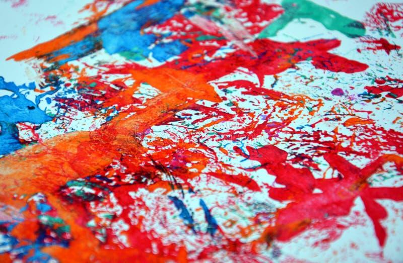 Pontos alaranjados vermelhos brilhantes da pintura, fundo vívido, cores do abtract da pintura imagens de stock