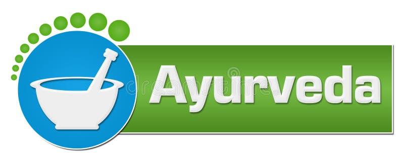 Pontos circulares azuis do verde de Ayurveda ilustração royalty free