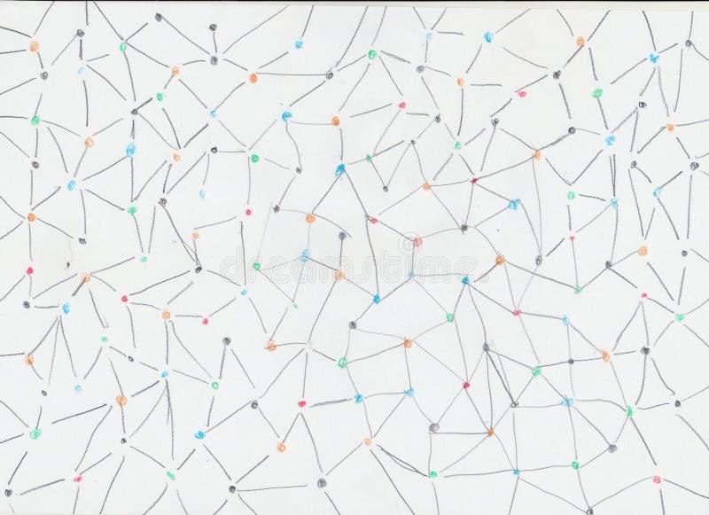 Pontos coloridos com linhas no fundo de papel fotografia de stock