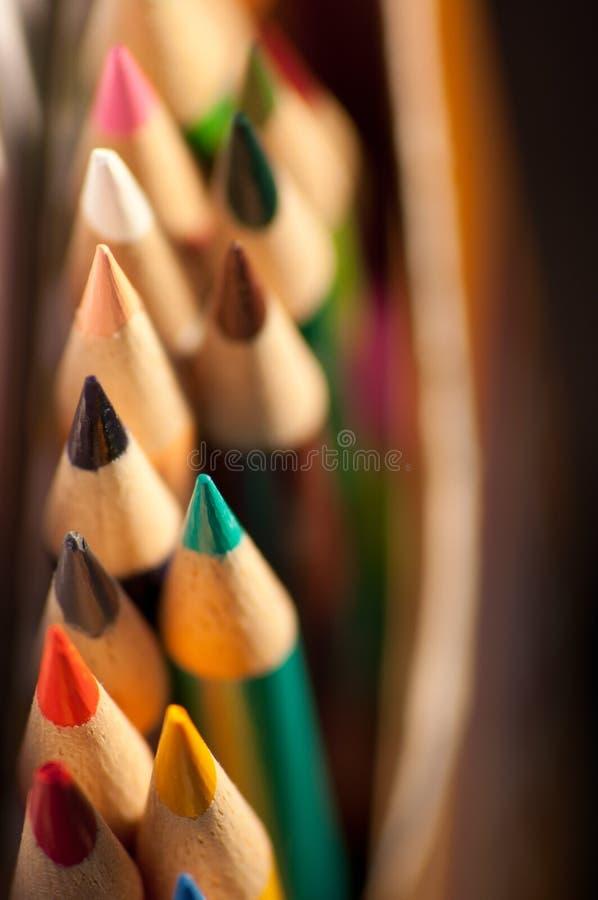 Pontos coloridos do lápis foto de stock royalty free