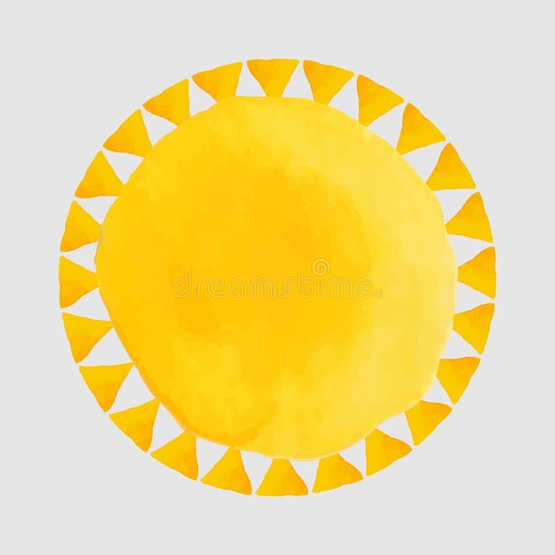 Pontos da aquarela e sol alaranjados - ilustração ilustração royalty free