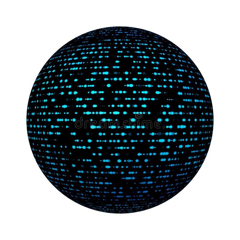 Pontos da conexão de rede para o conceito da informática digital na forma da bola ou da esfera isolados no fundo branco Zombaria  ilustração do vetor
