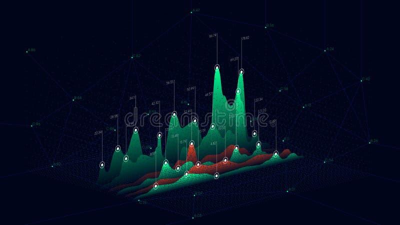 Pontos da conexão do sumário do contexto da tecnologia, gráfico futurista dos dados do infographics ilustração royalty free