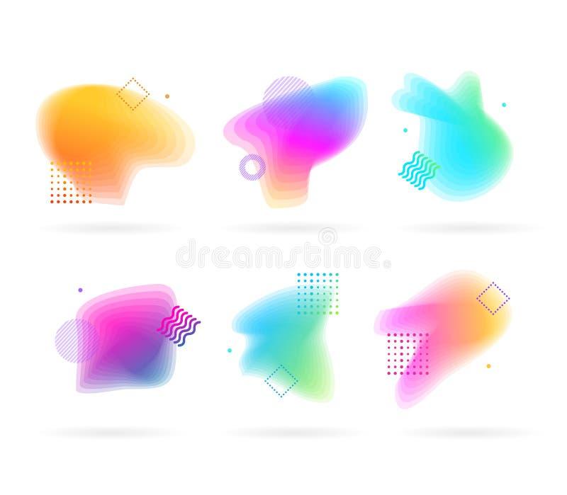 Pontos da cor com Memphis Style Elements Set abstrato Vetor ilustração stock