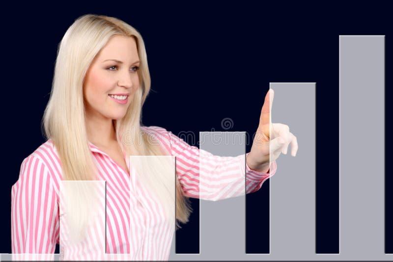 Pontos da mulher de negócio em uma curva ascendente foto de stock royalty free