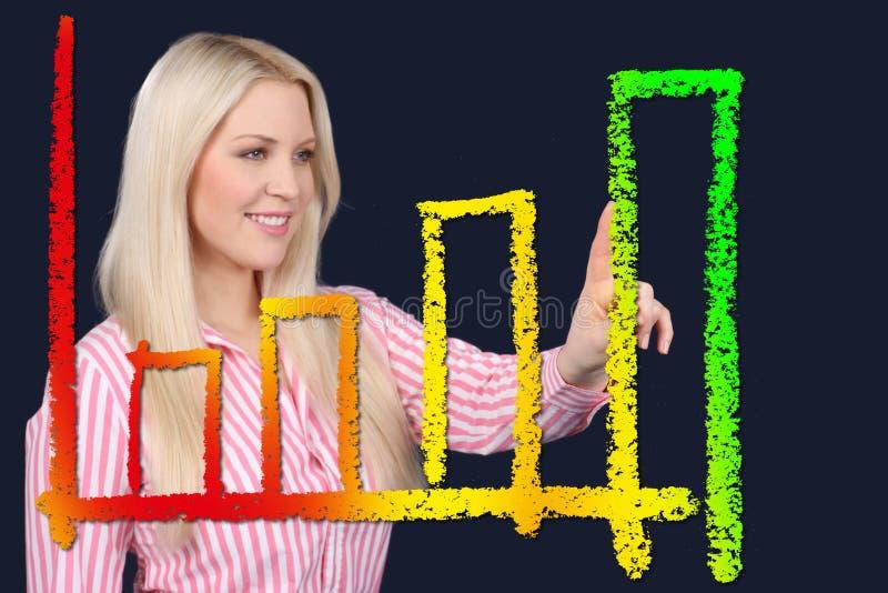 Pontos da mulher de negócio em uma curva ascendente foto de stock