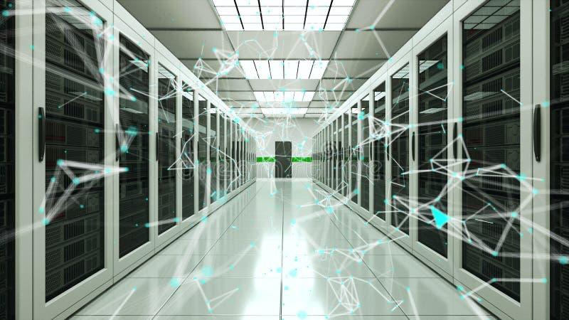 Pontos da sala e da conexão do servidor no datacenter, na rede da Web e na tecnologia da telecomunicação do Internet, rendição 3d ilustração stock