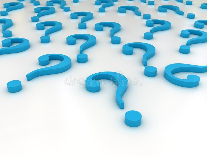Pontos de interrogação azuis ilustração do vetor