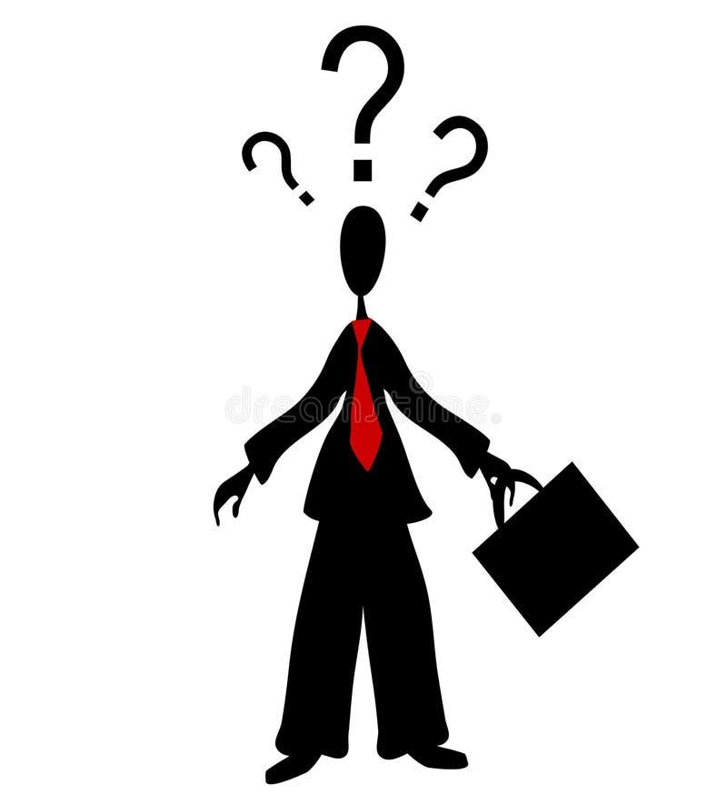 Pontos de interrogação confusos do homem ilustração royalty free