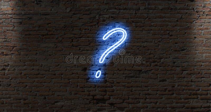 pontos de interrogação da luz de néon em uma parede de tijolo escura imagem de stock