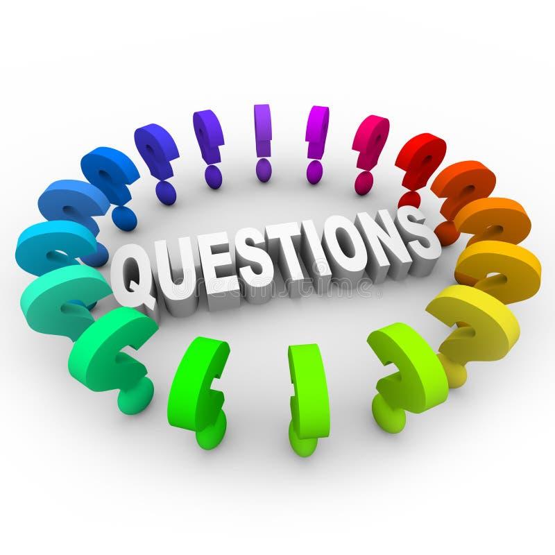 Pontos de interrogação em torno da palavra ilustração do vetor