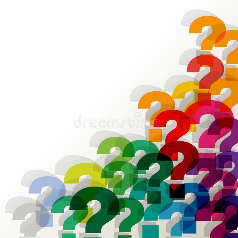 Pontos de interrogação transparente colorido no canto em um fundo branco imagem de stock