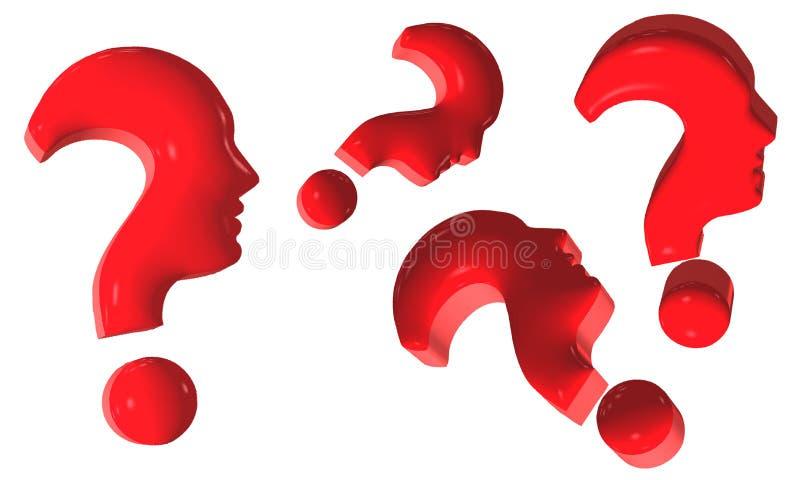 Pontos de interrogação vermelhos isolados conceito que formam os rostos humanos no perfil em um fundo branco ilustra??o 3D ilustração do vetor