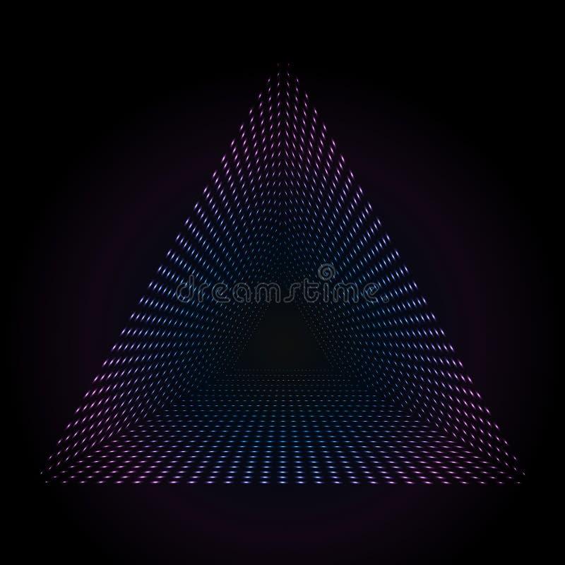 Pontos de néon coloridos abstratos, fundo pontilhado da tecnologia Partículas de incandescência, teste padrão claro conduzido, te ilustração do vetor