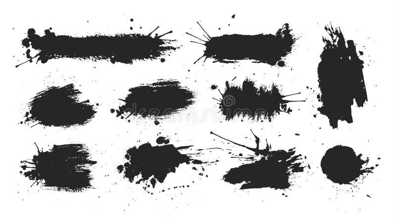Pontos de tinta preta ajustados ilustração stock