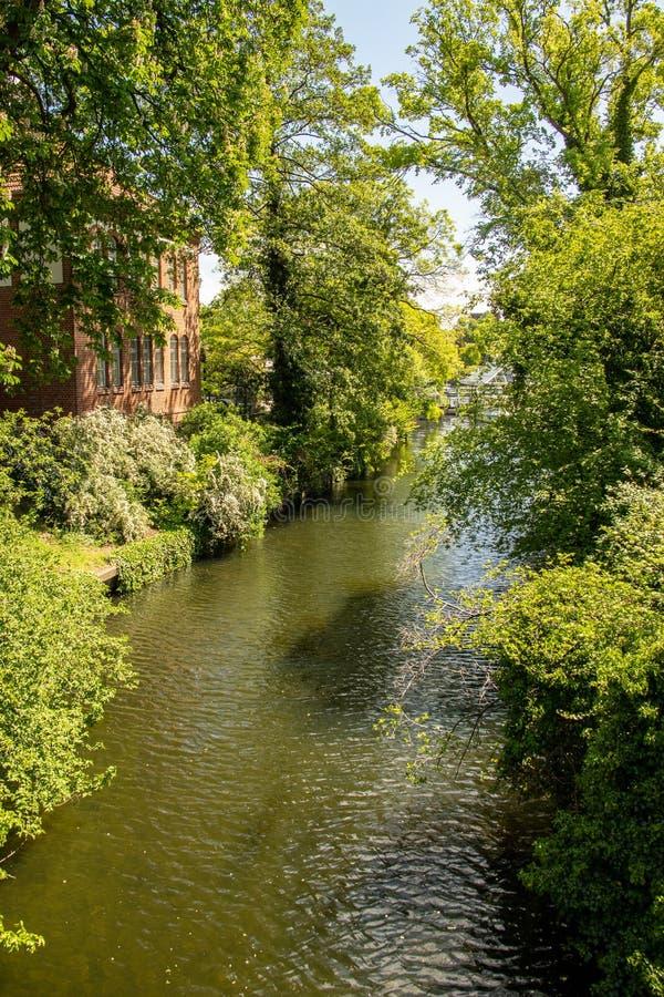 Pontos de vista românticos do rio Dahme e Spree em Berlim Koepenick imagens de stock royalty free