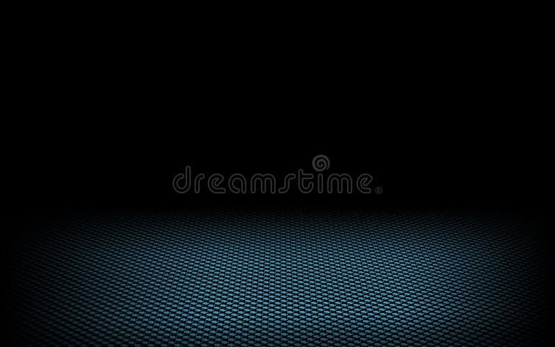 Pontos dinâmicos abstratos azuis no preto ilustração stock