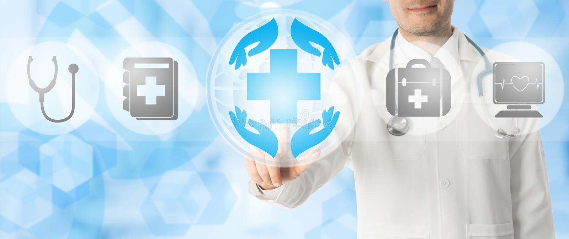 Pontos do doutor em ícones médicos dos cuidados médicos fotos de stock