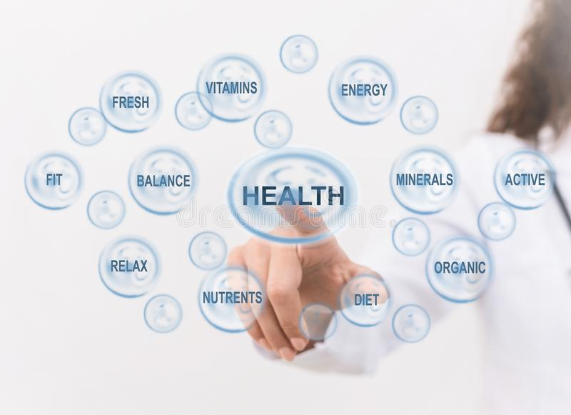 Pontos do doutor no ícone de inquietação da saúde com outros sinais médicos foto de stock royalty free