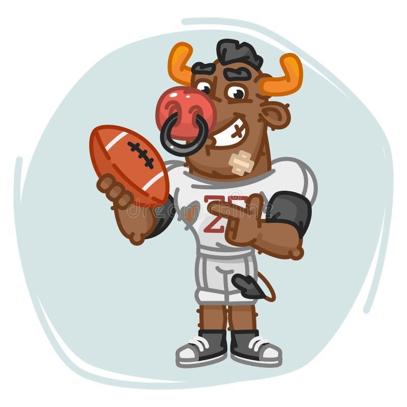 Pontos do jogador de futebol de Bull na bola ilustração do vetor