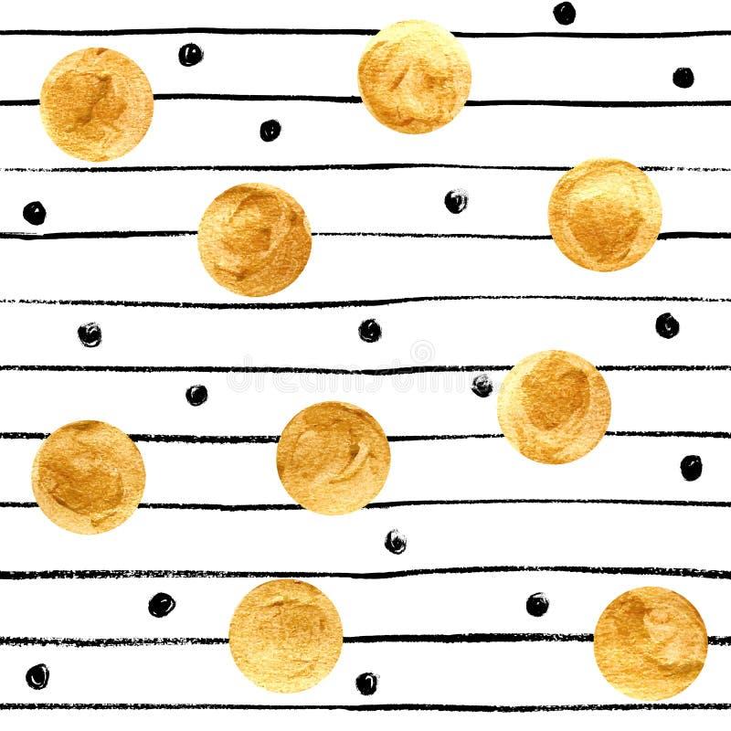 Pontos e fundo dourados das listras do preto ilustração do vetor
