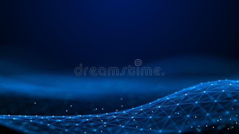 Pontos e linhas abstratos da rendi??o 3d Fundo da tecnologia Visualiza??o grande dos dados Intelig?ncia artificial plexus ilustração royalty free