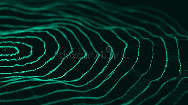 Pontos e linhas da conex?o de rede Fundo da tecnologia plexus Fundo grande dos dados rendi??o 3d fotos de stock royalty free