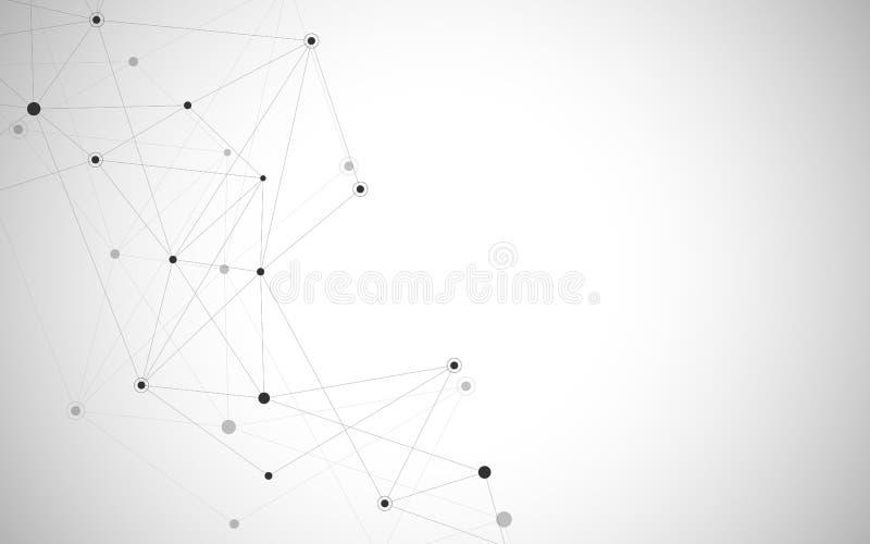 Pontos e linhas de conexão abstratos Ciência da conexão e fundo da tecnologia Ilustração do vetor ilustração stock