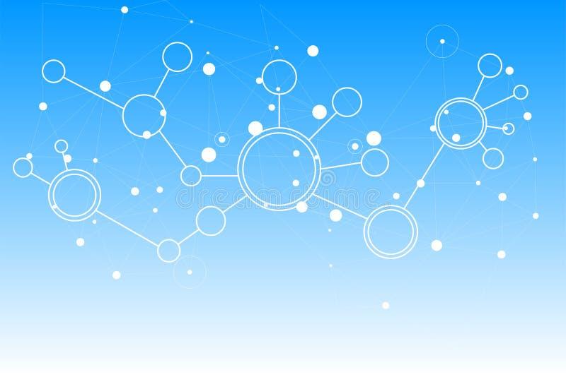 Pontos e linhas de conexão abstratos connec do fundo da tecnologia ilustração stock