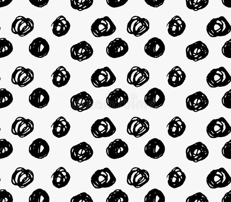 Pontos grandes do garrancho do marcador preto ilustração do vetor