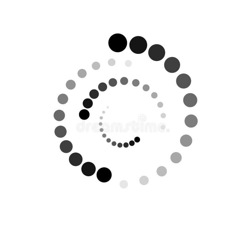 PONTOS NA ESPIRAL Elementos de intervalo mínimo do projeto Vetor isolado no fundo branco ilustração do vetor