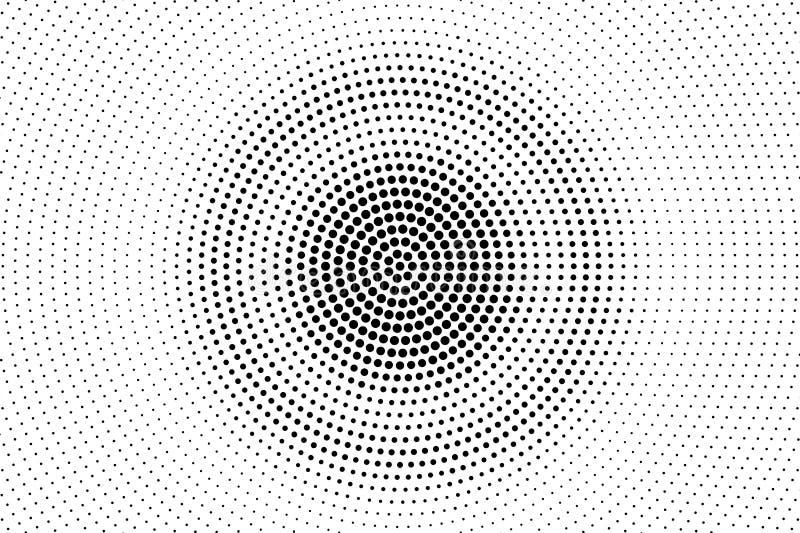 Pontos pretos no fundo branco Superfície perfurada centrada Textura de intervalo mínimo desvanecida do vetor Inclinação redondo d ilustração do vetor