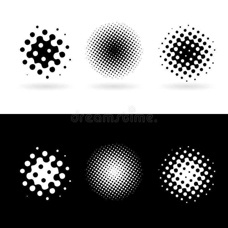 Pontos redondos preto e branco ilustração do vetor
