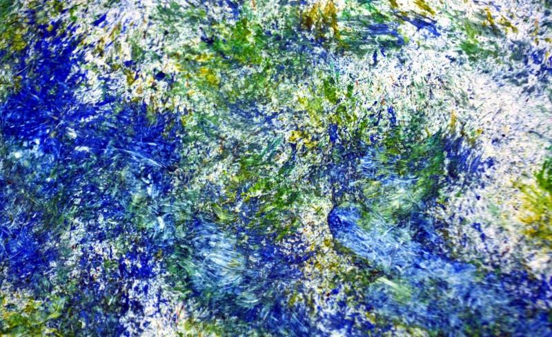 Pontos românticos borrados brancos verdes amarelos azuis dos pontos vívidos que pintam o fundo da aquarela, fundo de pintura abst fotografia de stock