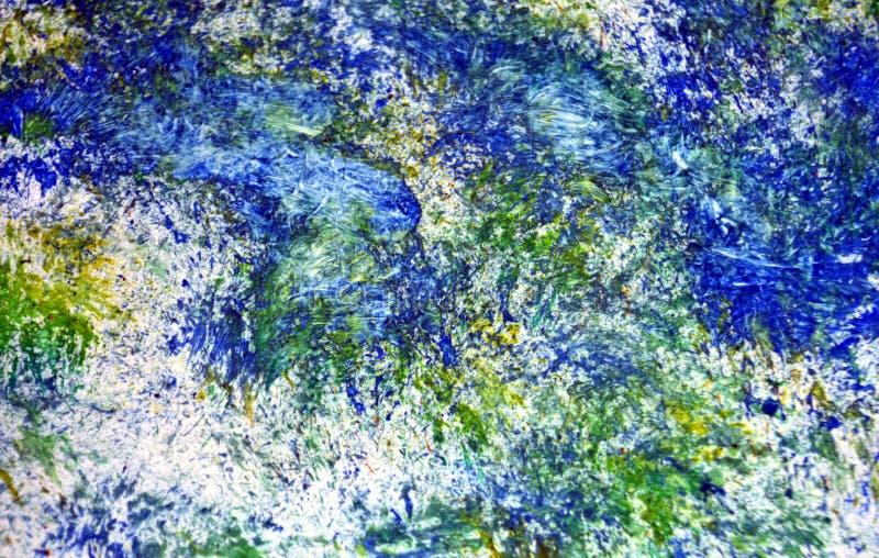 Pontos românticos dos pontos vívidos brilhantes brancos amarelos azuis que pintam o fundo da aquarela, fundo de pintura abstrato  fotos de stock