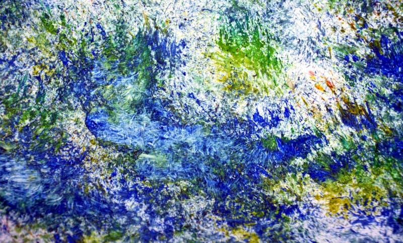 Pontos românticos verdes amarelos azuis dos pontos vívidos brilhantes brancos que pintam o fundo da aquarela, fundo de pintura ab imagem de stock royalty free