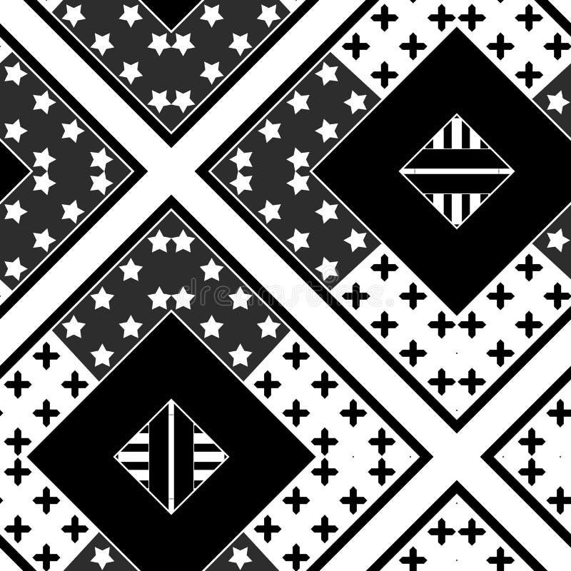 Pontos sem emenda abstratos das estrelas do teste padrão dos retalhos ilustração stock