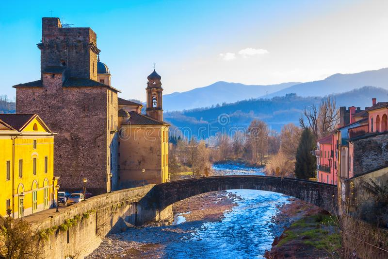 Pontremoli village and Magra river in the Apennine mountains, province of Massa and Carrara, Tuscany region, Italy. PONTREMOLI, ITALY - JANUARY 06, 2015: View of royalty free stock photo