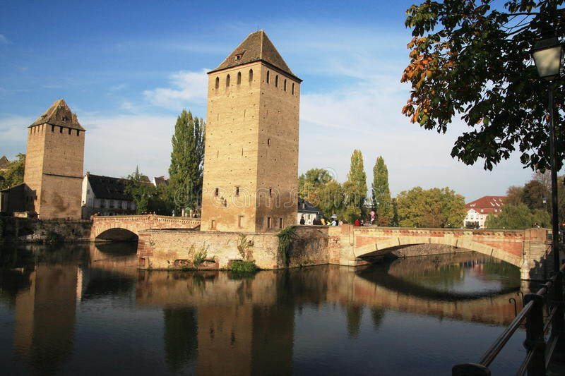 Ponts Couverts. View on Ponts Couverts in Strasbourg's Old Town (Petite France) – France, Alsace royalty free stock photos