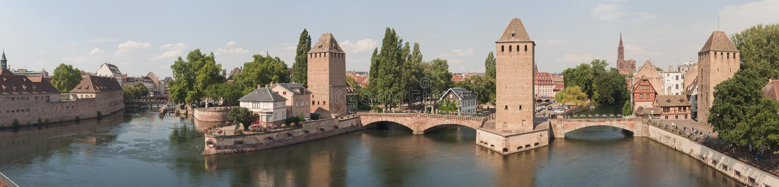 Ponts couverts. At the Ill river viewed from Barrage Vauban, in the Petite France quarter, Grande Ile, Strasbourg, France stock photography