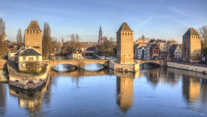 Ponts Couverts in Strasbourg. Winter panorama of the famous bridges Ponts Couverts in Strasbourg, France stock photography