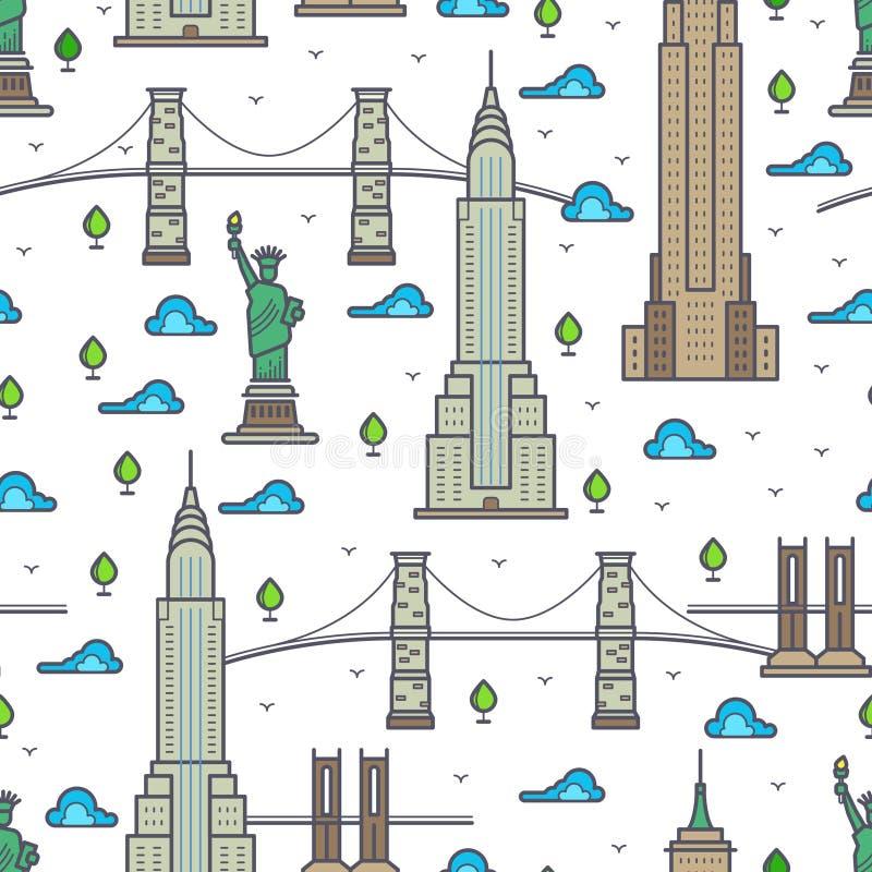 Ponts de New York, modèle sans couture de gratte-ciel illustration libre de droits