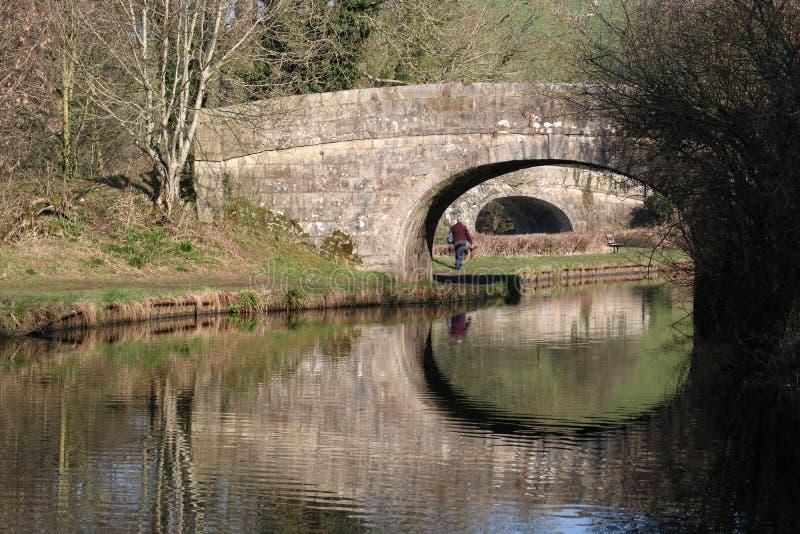 Ponts et réflexions, canal de Lancaster, Borwick images libres de droits