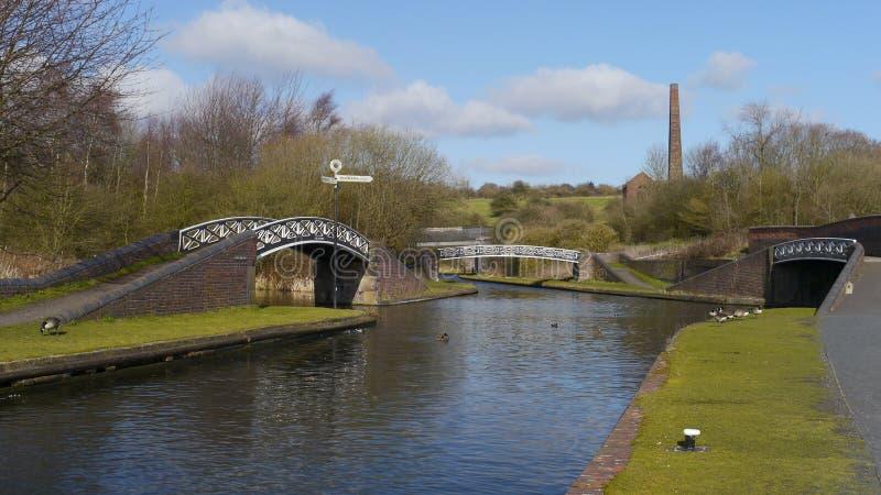 Ponts nomades à l'extrémité de moulin à vent, Netherton, R-U image libre de droits
