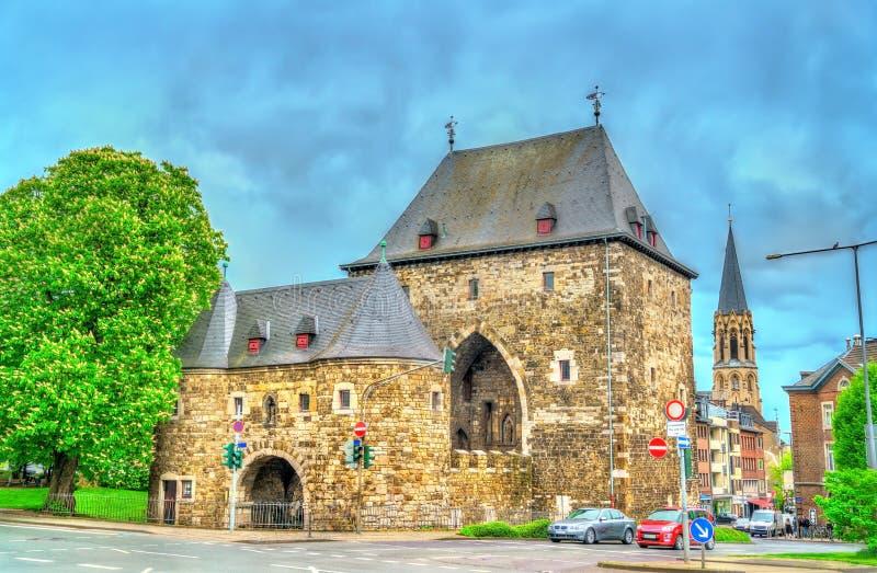 Ponttor,亚琛中世纪城市门在德国 免版税库存图片