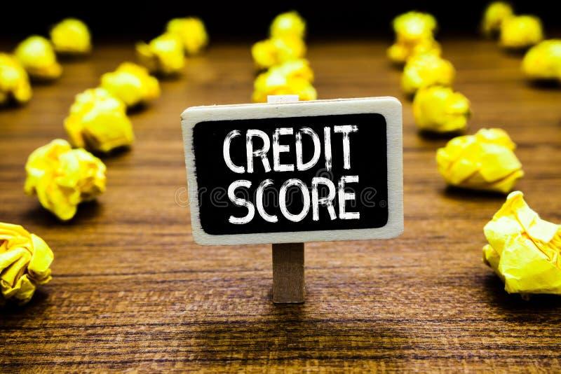 Pontuação de crédito do texto da escrita O significado do conceito representa a capacidace de empréstimo de um quadro-negro indiv imagens de stock
