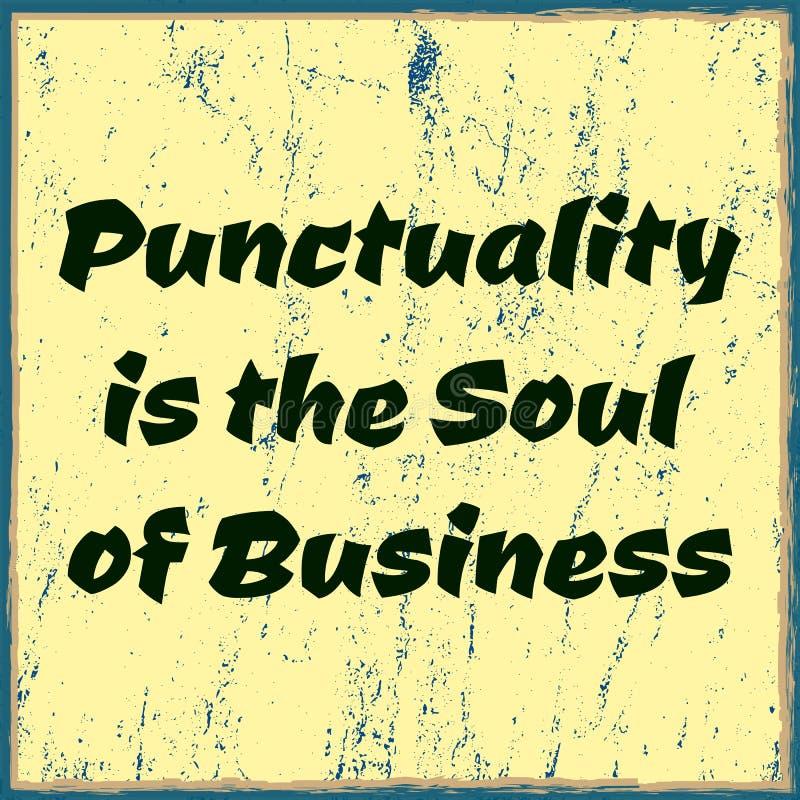 A pontualidade é a alma do negócio Texto minimalistic tipográfico Poster do vetor ilustração royalty free
