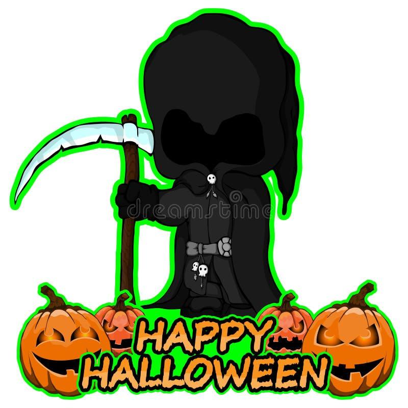 Ponura żniwiarka życzy szczęśliwego Halloween na odosobnionym białym tle ilustracja wektor